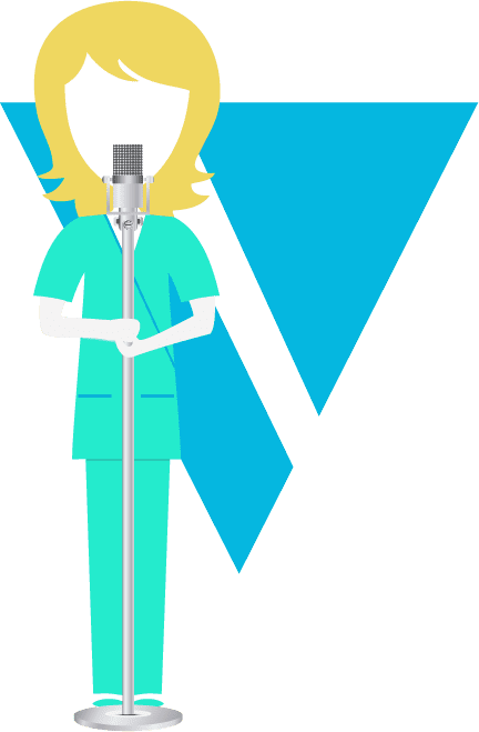 illustration woman standing at mic - V triangle background